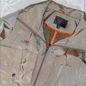 Cole Haan Gold Packable Raincoat Sz M Like New
